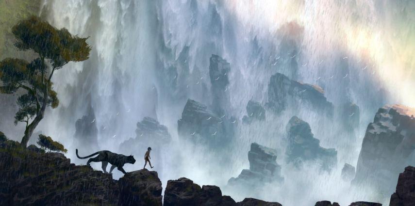 Bagheera (voice of Ben Kingsley) mentors Mowgli (newcomer Neel Sethi) in