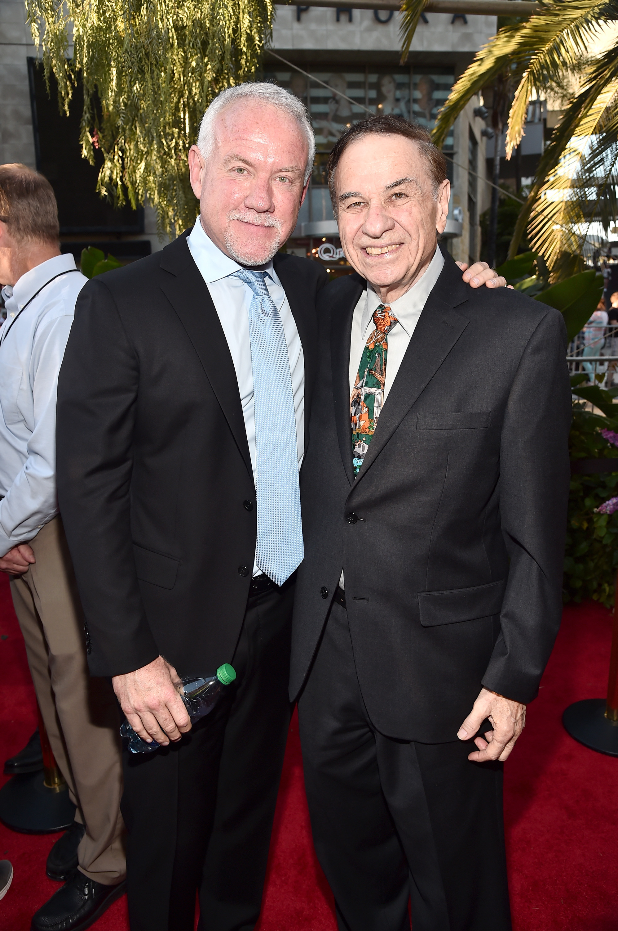 """HOLLYWOOD, CALIFORNIA - APRIL 04:  Composers John Debney (L) and Richard M. Sherman attend The World Premiere of Disney's """"THE JUNGLE BOOK"""" at the El Capitan Theatre on April 4, 2016 in Hollywood, California.  (Photo by Alberto E. Rodriguez/Getty Images for Disney) *** Local Caption *** John Debney; Richard M. Sherman"""