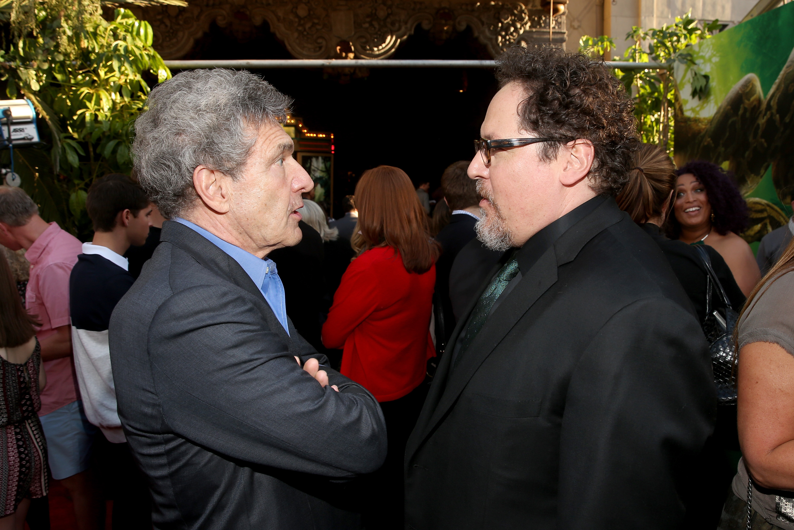 "HOLLYWOOD, CALIFORNIA - APRIL 04:  Chairman of the Walt Disney Studios, Alan Horn and director Jon Favreau attend The World Premiere of Disney's ""THE JUNGLE BOOK"" at the El Capitan Theatre on April 4, 2016 in Hollywood, California.  (Photo by Jesse Grant/Getty Images for Disney) *** Local Caption *** Jon Favreau; Alan Horn"