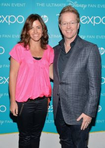 "ANAHEIM, CA - AUGUST 9: Producer Lindsey Collins (L) and director Andrew Stanton of ""Finding Dory"" attend ""Art and Imagination: Animation at The Walt Disney Studios"" presentation at Disney's D23 Expo held at the Anaheim Convention Center on August 9, 2013 in Anaheim, California. *** Local Caption *** Lindsey Collins;Andrew Stanton"
