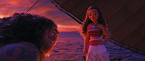"Demigod Maui (voice of Dwayne Johnson) is reluctant to help adventurous teenager Moana (voice of Auli'i Cravalho), who is determined to become a master wayfinder and save her people. But Moana is destined to win him over with her charm, strength and unbridled spunk. Directed by Ron Clements and John Musker, produced by Osnat Shurer, and featuring music by Lin-Manuel Miranda, Mark Mancina and Opetaia Foa'i, ""Moana"" sails into U.S. theaters on Nov. 23, 2016. ©2016 Disney. All Rights Reserved."