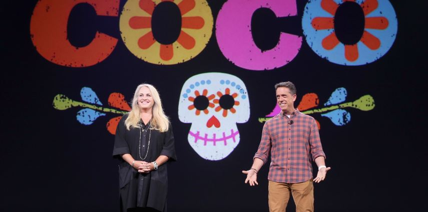 ANAHEIM, CA - AUGUST 14:  Producer Darla K. Anderson (L) and director Lee Unkrich of COCO took part today in