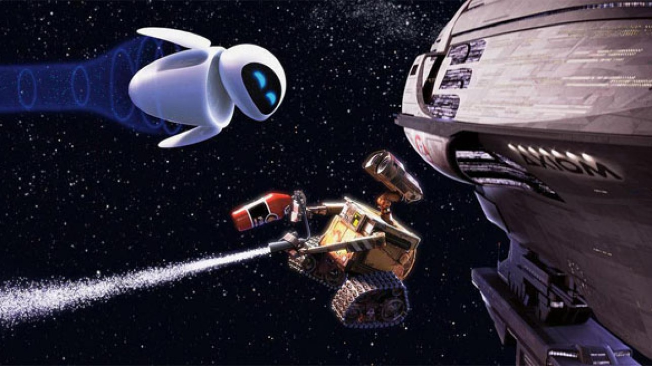 "WALL-E (center) develops a thing for a probe robot named EVE (top left) in ""WALL-E."""