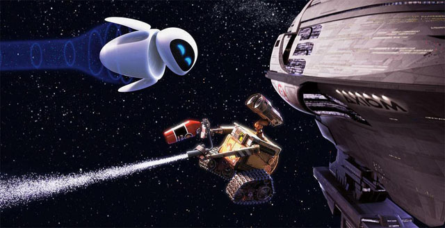 WALL-E (center) develops a thing for a probe robot named EVE (top left) in