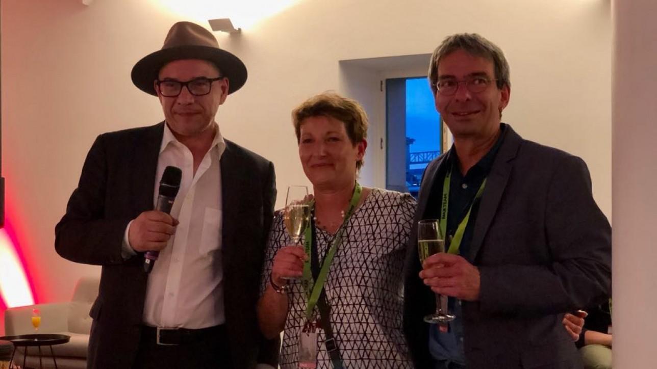 v.l.n.rAndreas Hykade, heike Mpzer und Joachim Gennant feiern den Abschluß der FMX