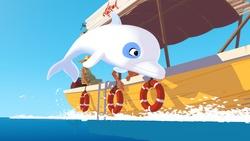Zoom, der weiße Delfin. Er lebt bei Yann und seiner Familie und ist bei allen Abenteuern rund um die Insel Maotou im Pazifik mit dabei.