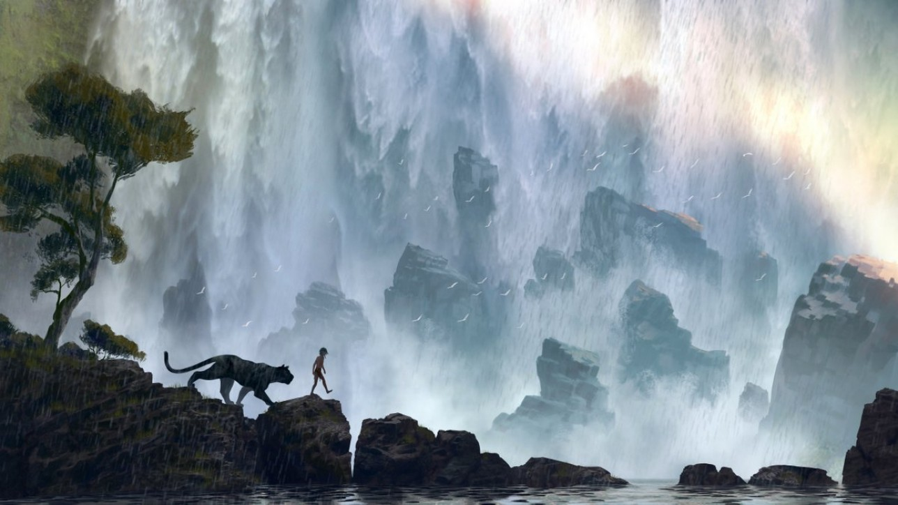 "Bagheera (voice of Ben Kingsley) mentors Mowgli (newcomer Neel Sethi) in ""The Jungle Book."" In theaters Oct. 9, 2015, the all-new live-action epic adventure tells the tale of Mowgli, a man-cub raised in the jungle by a family of wolves, who embarks on a captivating journey of self-discovery when he's forced to abandon the only home he's ever known. Concept art by: Jonathan Bach. ©2014 Disney Enterprises, Inc. All Right Reserved."