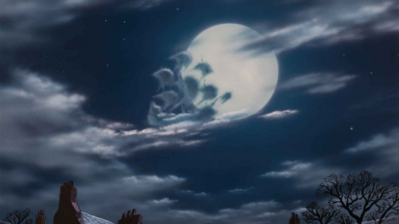 The ship of clouds sails over the moon