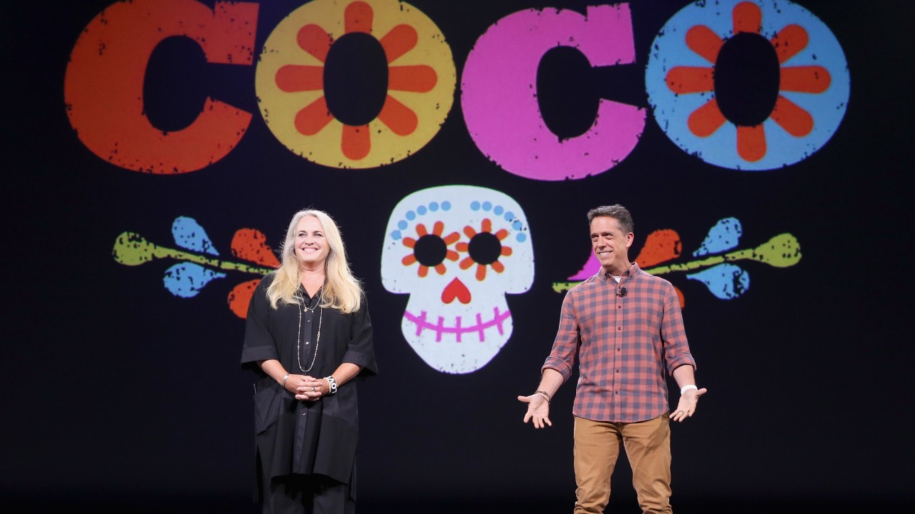 "ANAHEIM, CA - AUGUST 14:  Producer Darla K. Anderson (L) and director Lee Unkrich of COCO took part today in ""Pixar and Walt Disney Animation Studios: The Upcoming Films"" presentation at Disney's D23 EXPO 2015 in Anaheim, Calif.  (Photo by Jesse Grant/Getty Images for Disney) *** Local Caption *** Lee Unkrich; Darla K. Anderson"