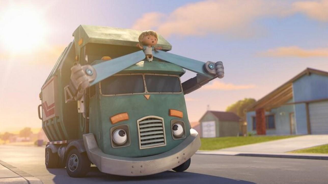"""Trash Truck (L to R) Glen Keane as """"Trash Truck Grandpa"""", Henri Keane as """"Hank"""" in Episode 1 of """"Trash Truck""""  NETFLIX © 2020"""
