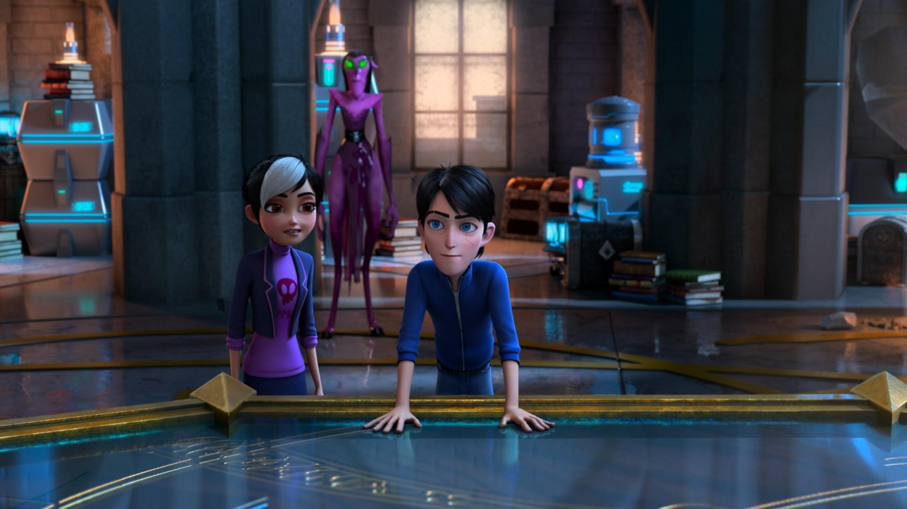 Trollhunters: Rise Of The Titans - (L-R) Claire (voiced by Lexi Medrano), Nomura (voiced by Lauren Tom) and Jim (voiced by Emile Hirsch). Cr: DreamWorks Animation © 2021